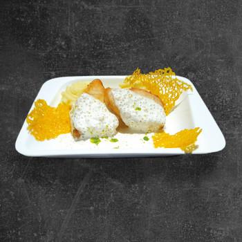 Калуга со сливочным соусом и щучьей икрой